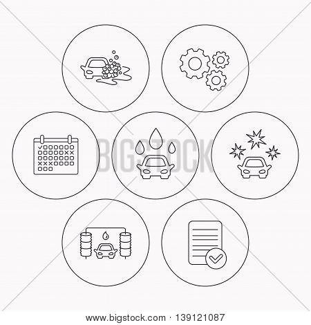 Car wash icons. Automatic cleaning station linear signs. Clean car, automatic carwash flat line icons. Check file, calendar and cogwheel icons. Vector