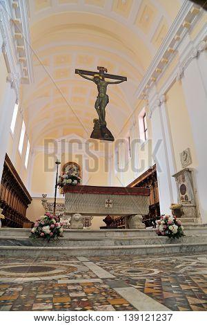 GAETA, ITALY - JUNE 25, 2016: Cathedral Basilica of Gaeta Italy - Interior