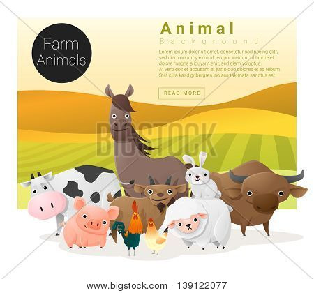 Cute animal family background with farm animals , vector , illustration