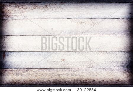 old white wood texture grunge background with horizontal boards. toned high key vignette