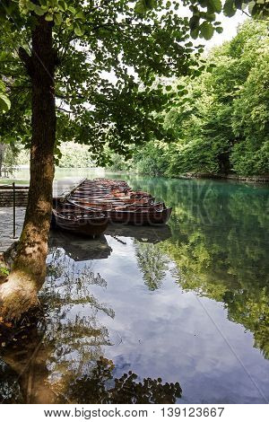 Boats standing at the dock at the lake - Plitvice (Croatia)