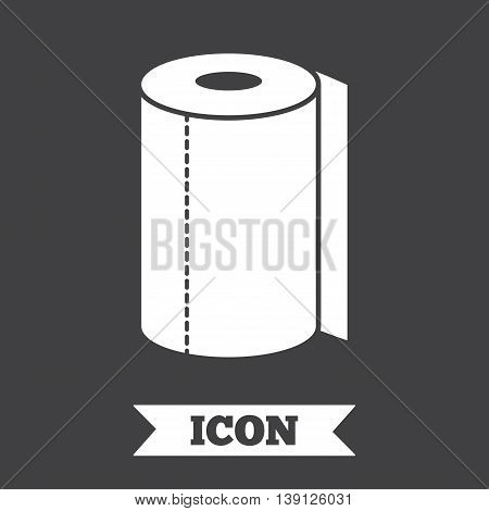Paper towel sign icon. Kitchen roll symbol. Graphic design element. Flat paper towel symbol on dark background. Vector