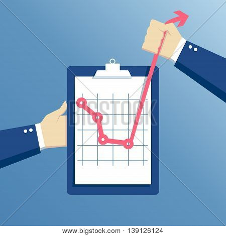 business concept of crisis and crisis exit effort at a critical moment hands holding clipboard with graph concept going beyond the limits of the possible