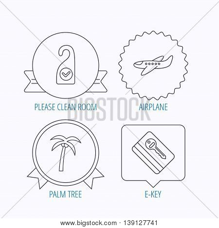 Palm tree, air-plane and e-key icons. Clean room linear sign. Award medal, star label and speech bubble designs. Vector