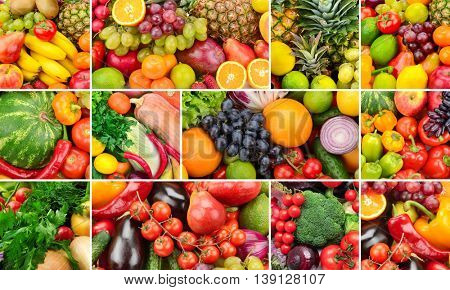 Collage of healthy foods. Fruits and vegetables. Background of useful products.