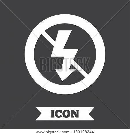 No Photo flash sign icon. Lightning symbol. Graphic design element. Flat no photo flash symbol on dark background. Vector
