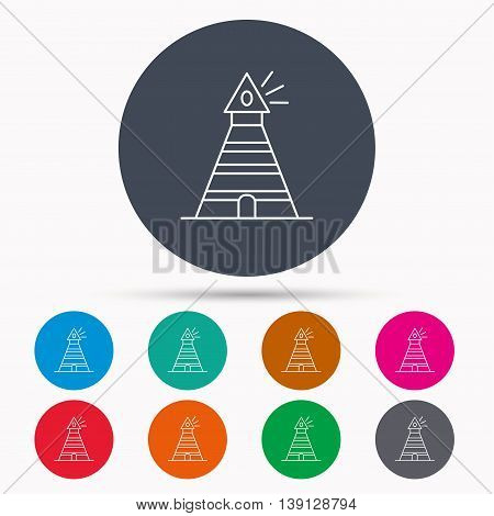 Lighthouse icon. Searchlight signal sign. Coast tower symbol. Icons in colour circle buttons. Vector