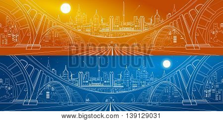 Big bridge, amazing panorama city, day and night town. Architecture and infrastructure illustration. White lines landscape, vector design art, day and night