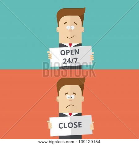 businessman or manager held in the hand work schedule. The plate is open or closed. A man in a business suit with a tie. Joyful and sad man. Cartoon illustration of a flat style
