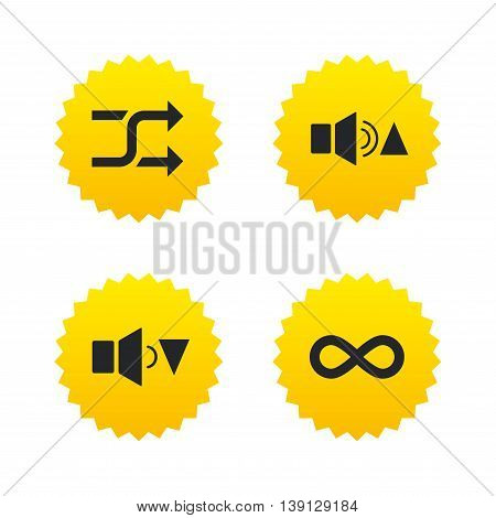Player control icons. Sound louder and quieter signs. Dynamic symbol. Shuffle random and repeat loop. Yellow stars labels with flat icons. Vector
