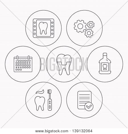 Dental crown, x-ray and brushing teeth icons. Mouthwash linear sign. Check file, calendar and cogwheel icons. Vector