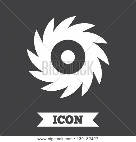 Saw circular wheel sign icon. Cutting blade symbol. Graphic design element. Flat saw symbol on dark background. Vector