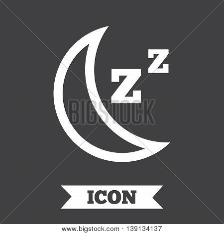Sleep sign icon. Moon with zzz button. Standby. Graphic design element. Flat sleep symbol on dark background. Vector