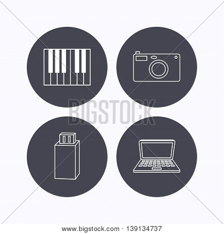 Photo camera, USB flash and notebook laptop icons. Piano linear sign. Flat icons in circle buttons on white background. Vector