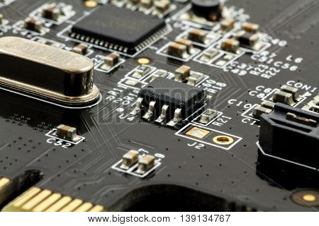 Printed Circuit Board (PCB) with, ICs, Capacitors, and Resistors
