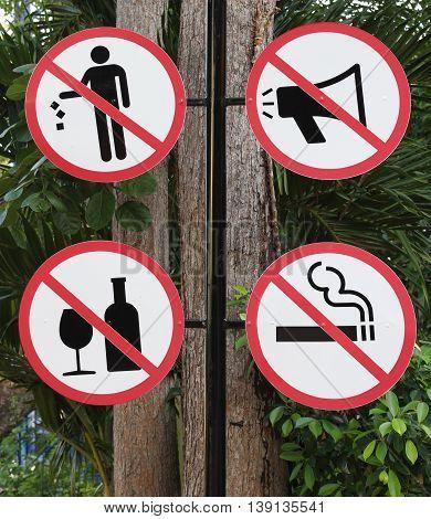 Prohibited No Stop Sign . No smoking