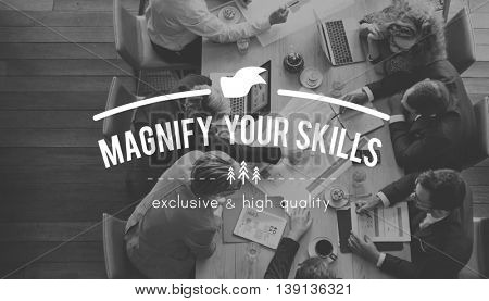 Magnify Skills Aptitude Intelligence Occupation Concept poster
