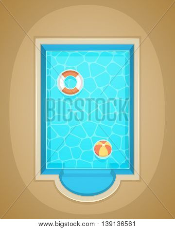 Vector illustration of swimming pool with lifebelt and ball.