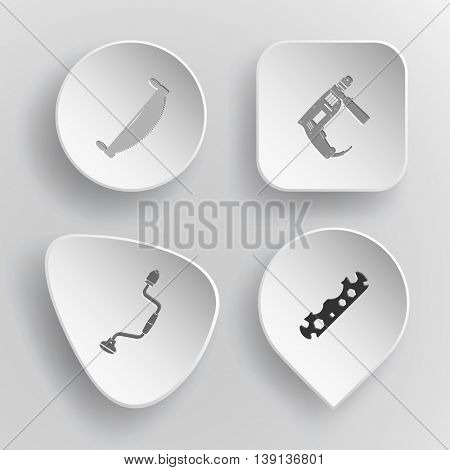 4 images: two-handled saw, electric, hand drill, cycle spanner. Industrial tools set. White concave buttons on gray background. Vector icons.