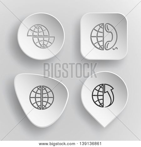 4 images: shift globe, and phone, and array up. Globe set. White concave buttons on gray background. Vector icons.