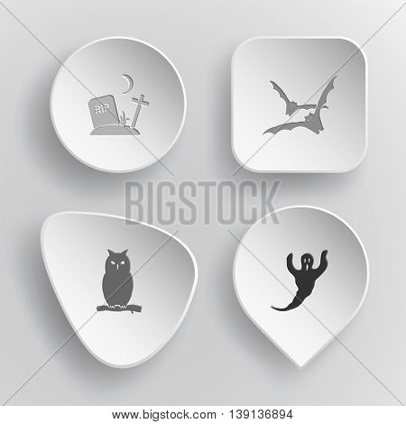 4 images: rip, bats, owl, ghost. Mystic signs set. White concave buttons on gray background. Vector icons.
