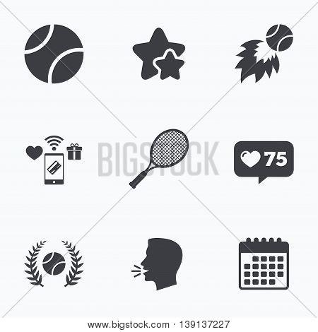 Tennis ball and racket icons. Fast fireball sign. Sport laurel wreath winner award symbol. Flat talking head, calendar icons. Stars, like counter icons. Vector