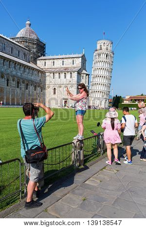 The Leaning Tower Of Pisa In Pisa, Tuscany, Italy