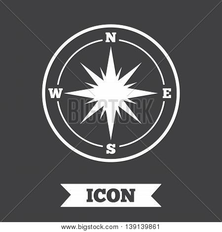 Compass sign icon. Windrose navigation symbol. Graphic design element. Flat windrose compass symbol on dark background. Vector