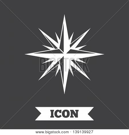 Compass sign icon. Windrose navigation symbol. Graphic design element. Flat windrose symbol on dark background. Vector