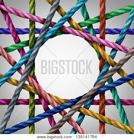 Connected divesisty and circle shaped group of ropes creating a centralized circular shape as a connect concept for business or social media.