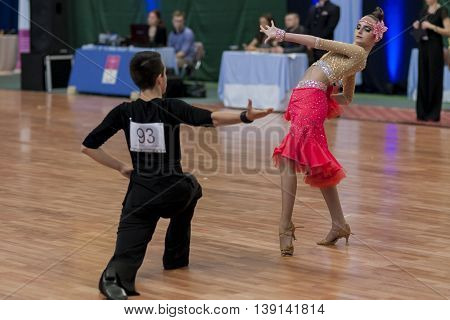 Minsk Belarus -May 29 2016: Shumak Arseniy and Hohlova Anastasiya Perform Youth-2 Latin-American Program on National Championship of the Republic of Belarus in May 29 2016 in Minsk Belarus