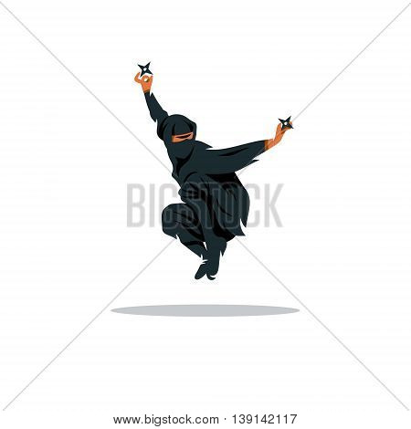 Warrior in black dress with shuriken in a jump Isolated on a White Background