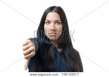 Rebellious Negative Woman Giving A Thumb Down