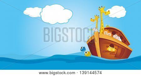 Noah's Ark floating in the ocean under clear sky