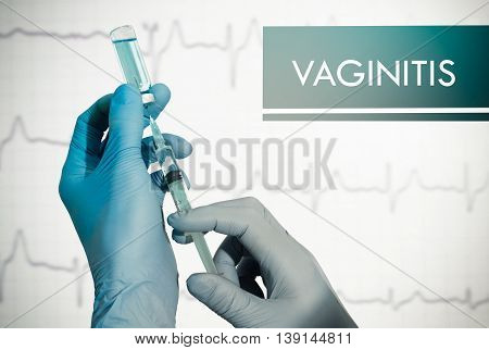 Stop vaginitis. Syringe is filled with injection. Syringe and vaccine