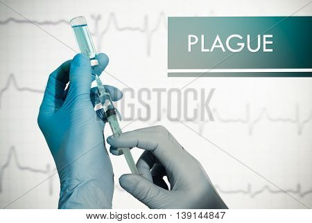 Stop plague. Syringe is filled with injection. Syringe and vaccine