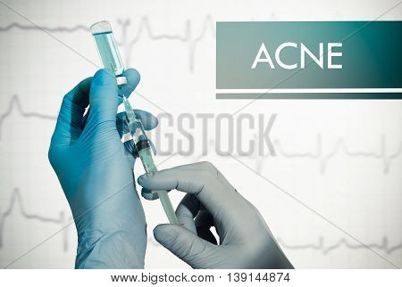 Stop ACNE (blackhead pimple). Syringe is filled with injection. Syringe and vaccine