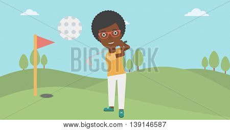An african-american female golfer hitting the ball. Professional female golfer on golf course. Young woman playing golf. Vector flat design illustration. Horizontal layout.