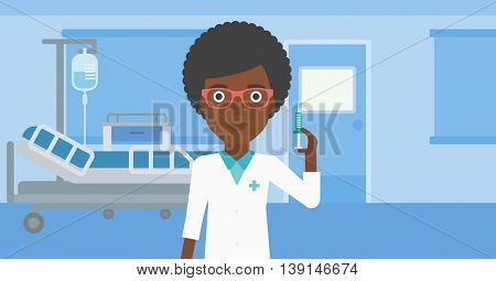 An african-american young female doctor holding medical injection syringe on the background of hospital ward. Vector flat design illustration. Horizontal layout.