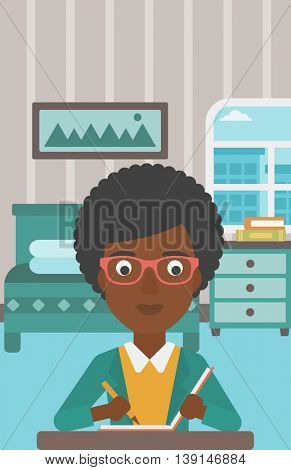 An african-american reporter sitting at the table and writing an article in writing-pad on the background of bedroom vector flat design illustration. Vertical layout.
