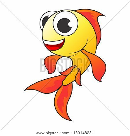 Vector Cartoon Cheerful Goldfish Character isolated on white background