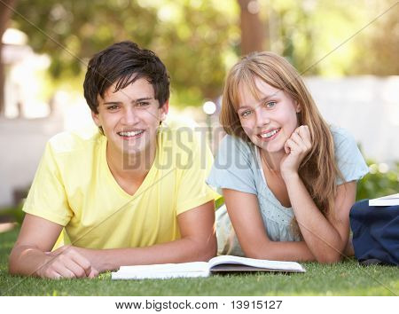 Teenage Student Couple Studying In Park