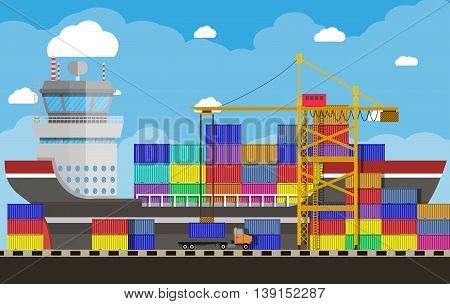 River ocean and sea freight shipping by water. crane unloads a cargo ship. containet truck. Background with blue sky and clouds. sea port logistics and delivery. vector illustration in flat style