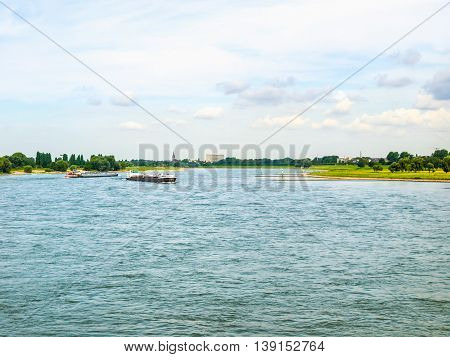 High dynamic range HDR View of river Rhein (Rhine) in Duesseldorf Germany poster