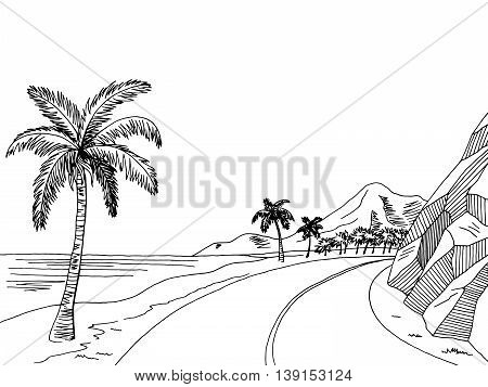 Sea coast road graphic art black white landscape sketch illustration vector