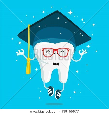 Happy healthy wisdom tooth in the cap of the graduate in red glasses and blue sneakers. Vector illustration on a blue background. Concept of children's dentistry. Excellent dental card. Cute character. Caries prevention.