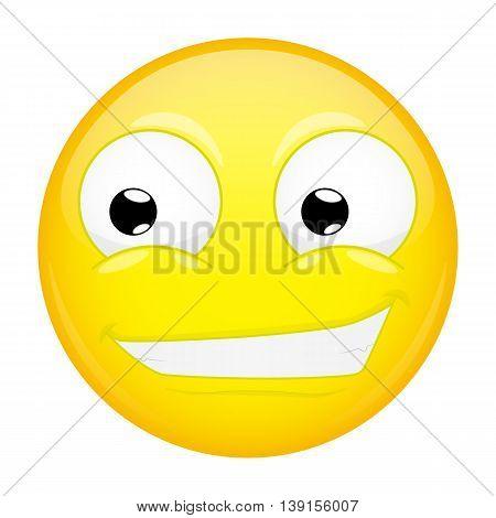 Smiling emoji. Smirk emotion. Grin emoticon. Vector illustration smile icon.