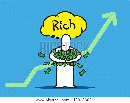 Vector : Businessman Hold A Lot Of Money Think Of Rich With Up Green Arrow On Blue Background
