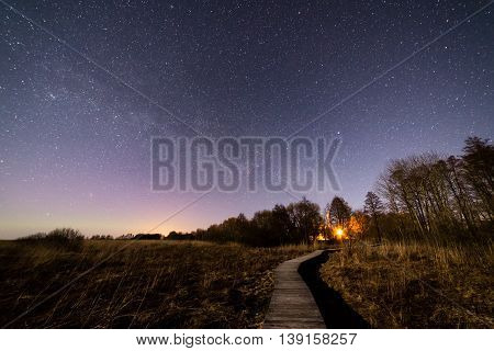 Beautiful milky way galaxy on a night sky and silhouette of tree with cloud Long exposure photograph.with grain poster