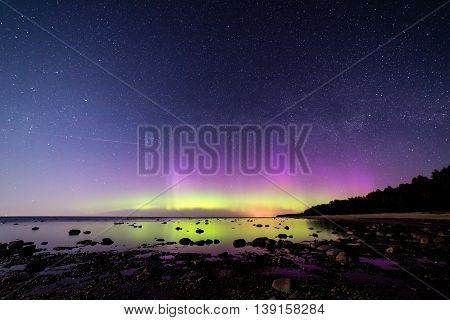 Intense Northern Lights (aurora Borealis) Over Baltic Sea